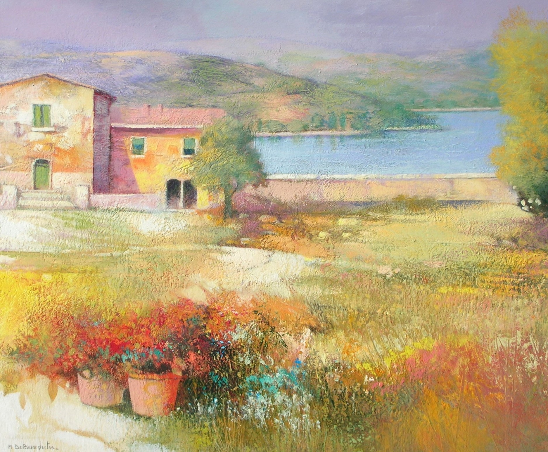 Nicola Casa con Lago 65x55